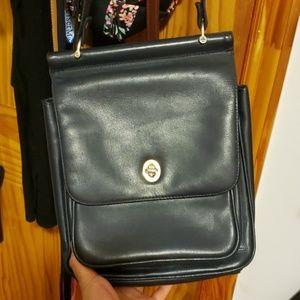 Vintage blue leather crossbody bag